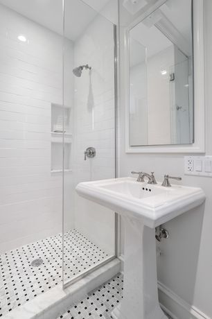 Traditional 3/4 Bathroom with Kohler K-2344-1 Memoirs Fireclay Rectangle Pedestal Sink, Pedestal sink, frameless showerdoor