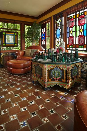 Eclectic Living Room with Stained glass window, Standard height, double-hung window, can lights, Carpet