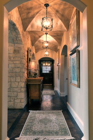 Mediterranean Hallway with World Imports Lighting - Iron 4 Light Hanging Lantern