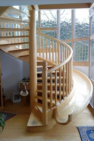 Traditional Staircase with Hardwood floors, Spiral staircase