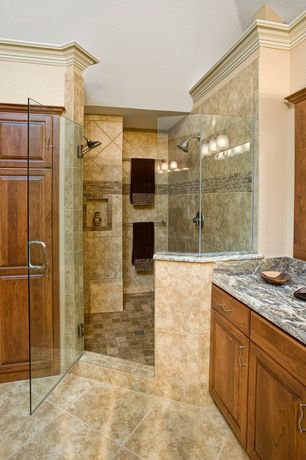 Traditional Master Bathroom with Complex Marble, Custom frameless shower door, Complex granite counters, Raised panel