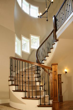 Craftsman Staircase with Cathedral ceiling, Chandelier, Hardwood floors