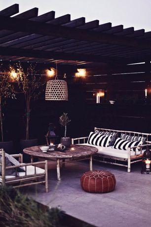 Contemporary Patio with exterior tile floors, Trellis