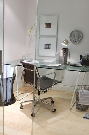 Contemporary Home Office with Eames Aluminum Group Management Chair with Pneumatic Lift, L&Z Sinus Trestle, Hardwood floors