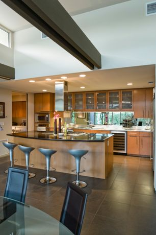 """Contemporary Kitchen with Flush, Daltile torreon travertine torreon 12"""" x 12"""" honed stone multi-surface tile, Breakfast bar"""