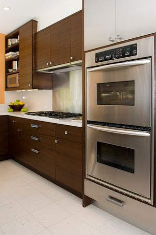 Contemporary Kitchen with Paint, electric cooktop, large ceramic tile floors, double wall oven, Flush, full backsplash
