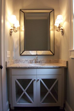 Country Powder Room with Crown molding, Dura Supreme Cabinetry Mullion Pattern #10, Flat panel cabinets, Simple Granite