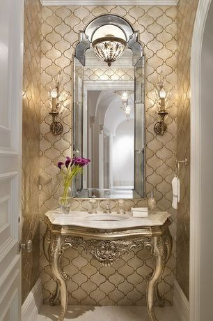 Traditional Powder Room with Elk lighting elizabethan ceiling light, Powder room, Horchow hovan mirror, interior wallpaper