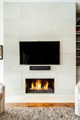 Contemporary Living Room with European Home White Fire Rock Ceramic Vent-Free System, Cement fireplace, Hardwood floors