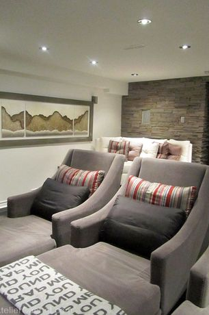 Contemporary Basement with Home theater room, Wrap me around you blanket from lilly & lolly, Paint, can lights