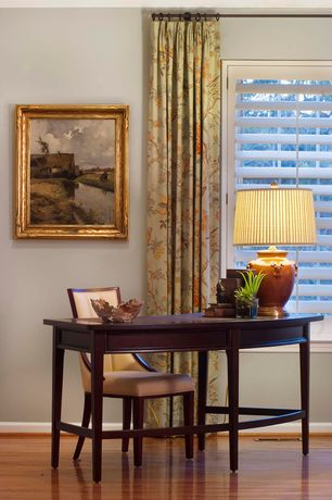 Traditional Home Office with Laminate floors, Casement, Standard height, Crown molding