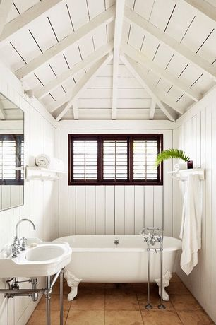 Cottage Full Bathroom with Console sink, High ceiling, Clawfoot, Louvered door, Exposed beam, Land of nod shelf silverstein
