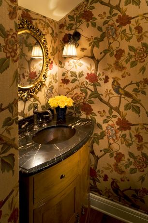Traditional Powder Room with Undermount sink, Decorators best fontainbleu fuschia, Inset cabinets, European Cabinets