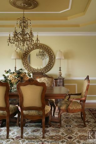 Traditional Dining Room with Hardwood floors, Design toscano carved rocaille fabric arm chair, Chair rail, Chandelier