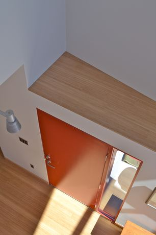 Contemporary Entryway with picture window, flat door, can lights, Laminate floors, High ceiling