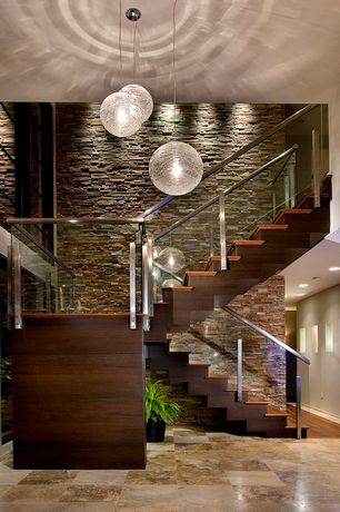 Modern Staircase with High ceiling, Hardwood floors