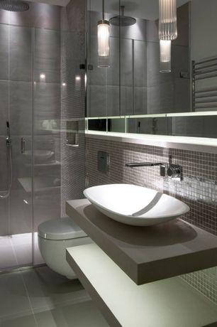 Modern 3/4 Bathroom with Handheld showerhead, Oval-Shaped White Ceramic Vessel Sink 8206, limestone tile floors, Vessel sink