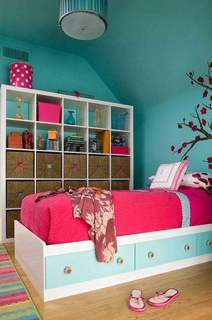 Contemporary Kids Bedroom with no bedroom feature, Hardwood floors, Paint 1, flush light, Standard height, Mural
