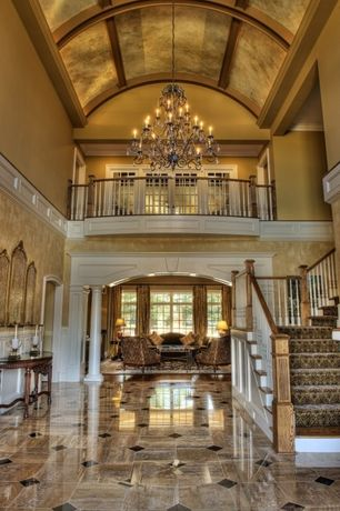Contemporary Hallway with Balcony, MS International Porcelain Metropolis Taupe, Chandelier, High ceiling, Wainscotting