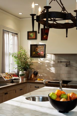 Mediterranean Kitchen with L-shaped, Flat panel cabinets, Rohl Country Wall Mounted Swing Potfiller in Satin Nickel