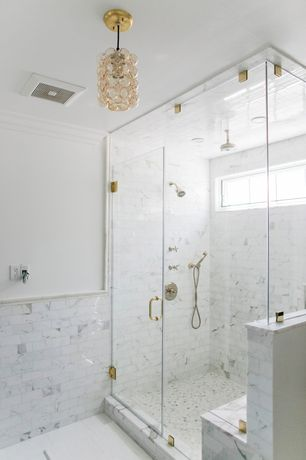 "Contemporary Master Bathroom with stone tile floors, Carrara Venato Marble Polished 4x8"" Subway Tile, can lights, Wall Tiles"