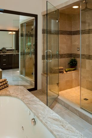 Contemporary Master Bathroom with Built in shower seat, Rain shower, Step in shower, Flat panel cabinets, Simple Granite