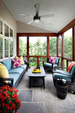 Contemporary Porch with exterior stone floors, Legends of Asia Black Ceramic Garden Stool, Screened porch, Sunroom