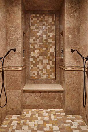 Mediterranean Master Bathroom with Delta Venetian Bronze Hand Shower Package, Built in shower seat, Dual shower heads