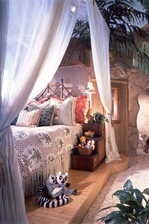 Eclectic Guest Bedroom with Casablanca palace four poster bed canopy, Built-in bookshelf, High ceiling, Carpet