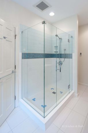 Contemporary Master Bathroom with Handheld showerhead, Wall sconce, Custom Frameless Shower, frameless showerdoor