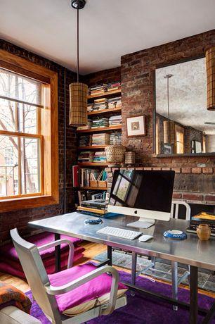 Craftsman Home Office with Restoration Hardware Vintage Toledo Dining Chair, Hardwood floors, Built-in bookshelf