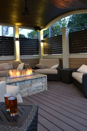 Modern Deck with Fire pit, Newtechwood, Fire pit out fitter, Fence, Pathway, Palm harbor collection