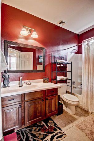 Mediterranean Full Bathroom with partial backsplash, linen and towel storage cabinet, Full Bath, Bathtub, curtain showerdoor