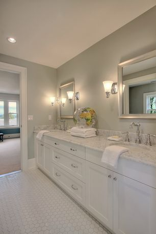 Traditional Master Bathroom with Double sink, Wall sconce, Flat panel cabinets, Standard height, Simple marble counters