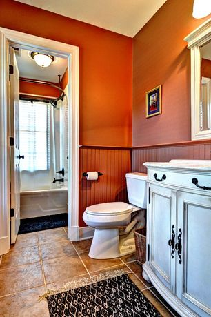 Country Full Bathroom with Full Bath, drop-in sink, Simple granite counters, Bathtub, Shower, flush light, Beadboard, Paint 1