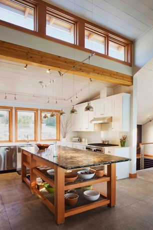 Contemporary Kitchen with MS International - Black Beauty, Exposed beam, Subway Tile, Pendant light, Flush, European Cabinets