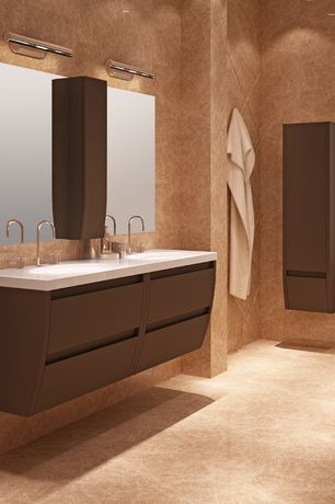 Contemporary Master Bathroom with Corian counters, Master bathroom, wall-mounted above mirror bathroom light, Wall Tiles