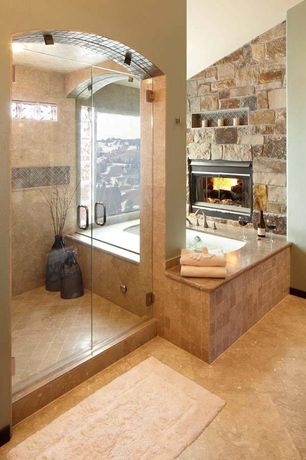 Rustic Master Bathroom with Daltile Travertine Collection Noce (Tumbled) Tile, MS International Tuscany Noce Travertine