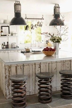 Eclectic Kitchen with Repurposed warehouse lights, Standard height, gas cooktop, Concrete countertops, Casement, Slate Tile