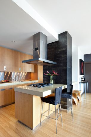 Contemporary Kitchen with European Cabinets, Flush, One-wall, Porcelanosa Urban Black Frost Wall Tile, Quartz counters