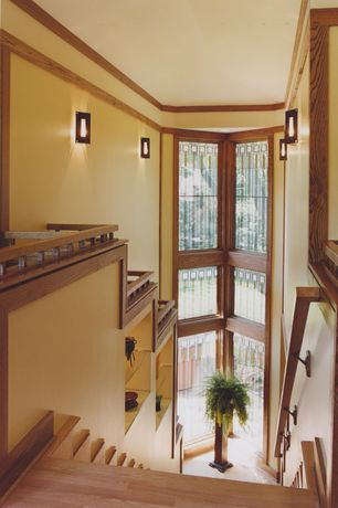 Craftsman Staircase with Built-in bookshelf, Loft, Hardwood floors, Cathedral ceiling, Wall sconce