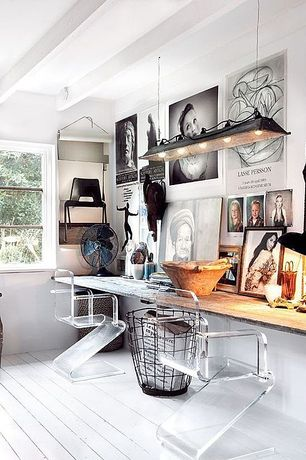 Contemporary Home Office with Exposed beam, Painted wood floor, Hardwood floors, Pendant light, Natural wood countertop
