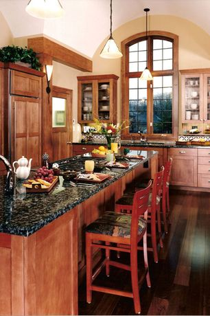 Craftsman Kitchen with Pendant light, Breakfast bar, Flat panel cabinets, Wall sconce, Ceramic Tile, Undermount sink