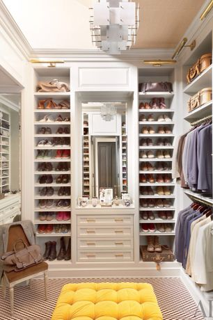 Traditional Closet with Piel Leather Duffel on Wheels - Chocolate, Crown molding, Carpet, Chandelier, Built-in bookshelf