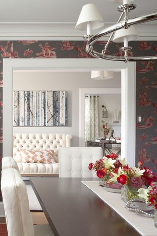Contemporary Dining Room with Crown molding, Century Furniture Dining Room Beckett Dining Side Chair, interior wallpaper