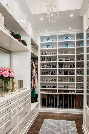 Contemporary Closet with Custom shoe shelving, Handmade flat weave moroccan pattern grey/ white rug, High ceiling, Chandelier