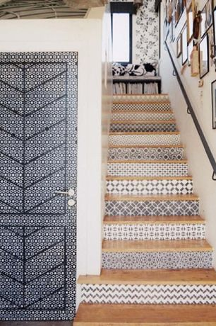 Eclectic Staircase with Floating staircase, Hardwood floors, specialty door