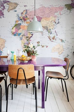 Contemporary Dining Room with Hardwood floors, Swag Paper Colton Map of the World Wallpaper, Mural, Pendant light