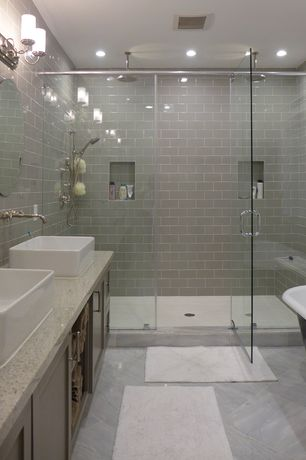 Contemporary Master Bathroom with Vessel sink, Daltile Rittenhouse Square Matte Desert Gray 3 in. x 6 in. Ceramic Wall Tile