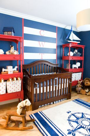 Traditional Kids Bedroom with Standard height, Paint, Nejad rugs-classic compass rug, Hardwood floors, no bedroom feature